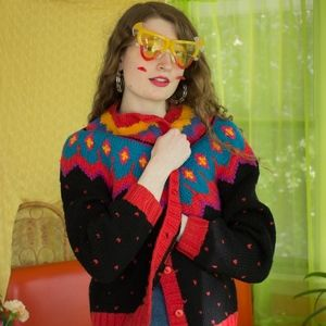 Cozy, Colorful Vintage Winter Knit Sweater